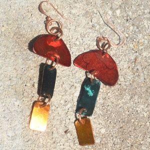 Blue Yellow Red Pure Copper Dangle Earrings OOAK